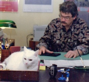 With Elizabeth the cat