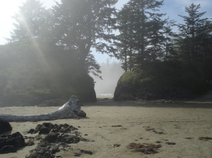 Sun peeks through a sea mist on Long Beach, Tofino