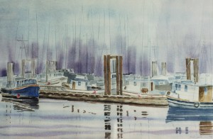 My watercolour sketch with the missing boat