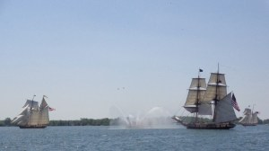 Fireboat salutes tall ships