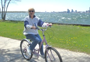 Diane's pink bike on a blustery day
