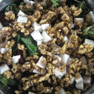Beet and spinach salad with goat feta