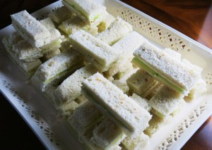 Cucumber and cream cheese finger sandwiches