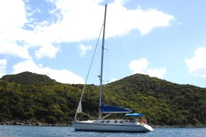 St Maarten - At anchor in St Barts