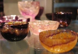 Tiny bowls on display at the mine