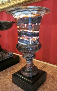 Majestic Blue John vase in the formal dining room at Chatsworth