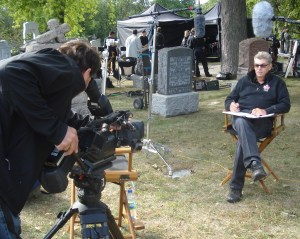 Behind the scenes on a movie set