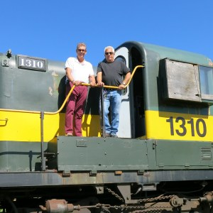 With engineer Denis Godbout on the York-Durham Heritage Railway
