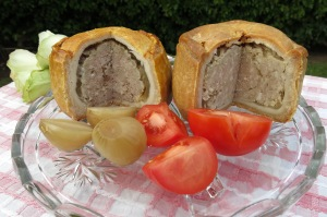 M&S (L) and Sainsbury's (R) pork pies at the cottage