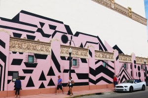 'Dazzle' camouflage inspired mural at The Wolfsonian