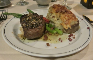 Petit filet mignon and twice baked potato at Gibbys
