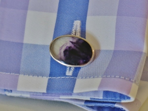 My smashing new Blue John cufflinks, with a suitable bespoke shirt