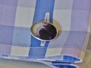 My smashing new Blue John cufflinks, with a suitable bespoke shirt