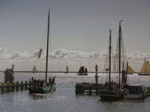 Traditional fishing boats at Volendam