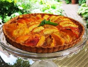 Peach pie awaits a garden party
