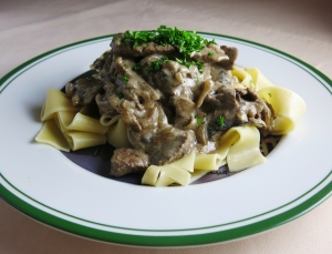 Beef stroganov with papardelle