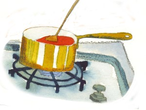 A pot of soup heats up in my galley under sail