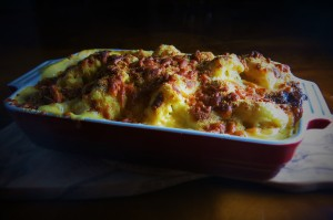 Cauliflower cheese piping hot from the oven