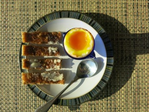 Two-minute egg with soldiers