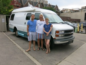 With Alex and Lisa - and Boris - in our Toronto driveway