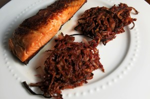 Beet and onion fritters as side to pan fried salmon