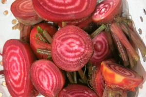 Chioggia beets are striped inside like a candy cane