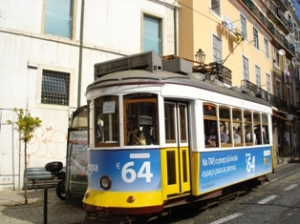 A clanking electric tram in Lisbon