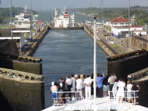 Passing through the Gatun Locks.