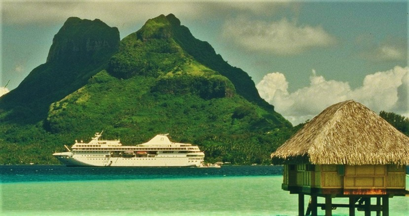 The featured image shows the Paul Gauguin at anchor in the Society Islands