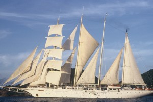 The Star Clipper under sail in the Caribbean