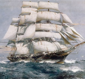 An artist's rendition of the Cutty Sark