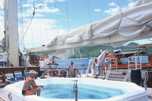 Guests enjoy a refreshing dip in the ship's pool