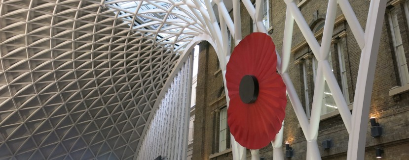Featured image - A giant poppy at King's Cross Station, London