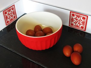 Bright accents and very brown free-range eggs
