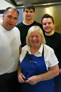 Tessa Bramley, owner and chef of The Old Vicarage, Ridgeway, with her culinary team (L to R) Nathan Smith, chef, Lewis Platts, comis chef, and Alex Williams, sous chef