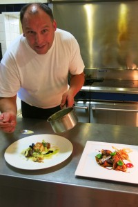 The Old Vicarage chef Nathan Smith adds the final touch to (L) baked Whitby cod and (R) roast English partridge