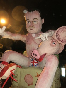 Prime Minister Cameron's effigy awaits it's fate