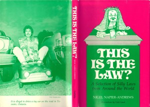 The cover of my 1976 book where I'm seen breaking the law by riding a toy car on the street