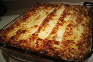Freshly baked lasagne