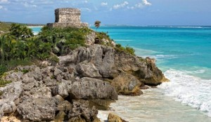 Tulum overlooks the Caribbean Sea