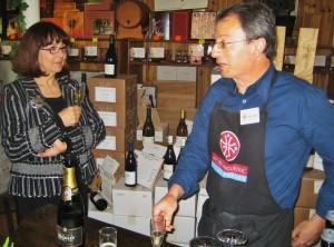 Hélène with Christian Esparza at his wine emporium