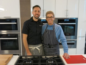 Matt and Nigel on the Miele kitchen set