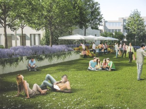 An artist's concept of people enjoying the tiny remnant of green space left after development