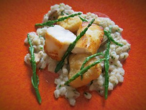 Monkfish with pearl barley and samphire, The Old Vicarage, Sheffield