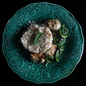 Grilled monkfish with fiddleheads and rice