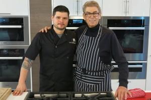 Dan and Nigel on the Miele kitchen set