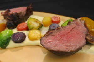 Rack of venison with seasonal veggies