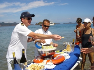 Caviar on the beach on SeaDream cruises