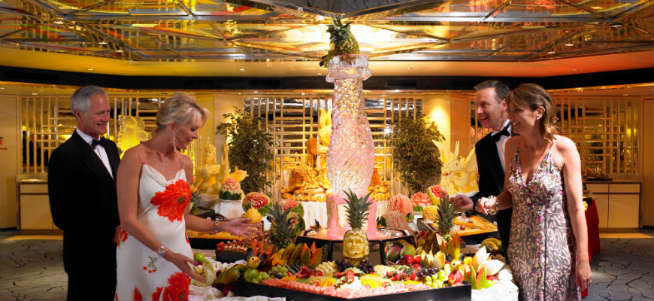 Featured image -- Gala buffet on a cruise ship (courtesy Fred Olsen cruise line)
