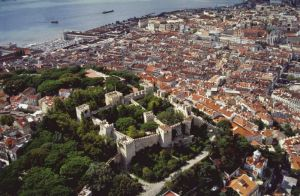 Aerial view of Lisbon with Castelo de Sao Jorge
